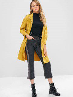 Solid Color Slit Longline Trench Coat - Yellow