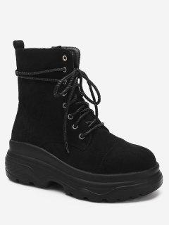 Lace Up Platform Short Boots - Black Eu 37