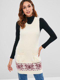 Fuzzy Pockets Vest Sweater - Warm White