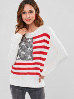 Drapeau Américain Haut Bas Fente Pull - Blanc S