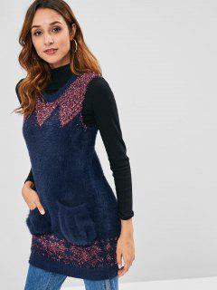 Pockets Fuzzy Vest Sweater - Dark Slate Blue