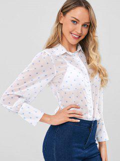 Polka Dot Halb Schiere Shirt - Weiß M
