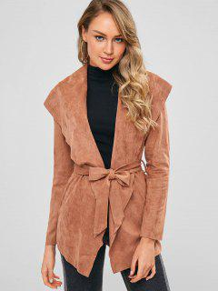 Faux Suede Belted Shawl Collar Jacket - Brown S