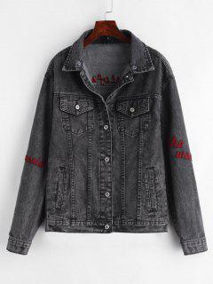 Button Up Letter Patches Denim Jacket - Jet Black M
