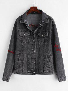 Button Up Letter Patches Denim Jacket - Jet Black L