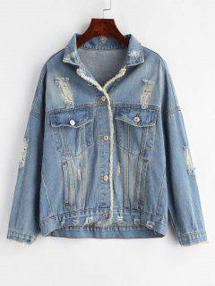 Destroyed Button Up Jean Jacket - Denim Blue L