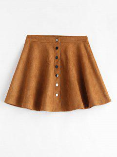 Snap Button Faux Suede Mini Skirt - Dark Goldenrod M