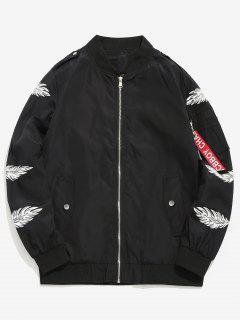 Feather Print Lightweight Bomber Jacket - Black M