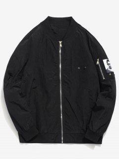 Pockets Patch Waterproof Bomber Jacket - Black Xs