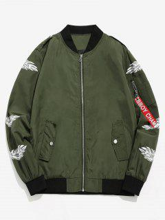 Feather Print Lightweight Bomber Jacket - Army Green L