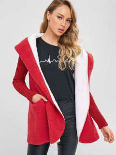 Long Snap Button Faux Shearling Coat - Red