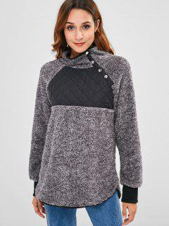 Quilted Penel Fluffy Faux Fur Sweatshirt - Gray S