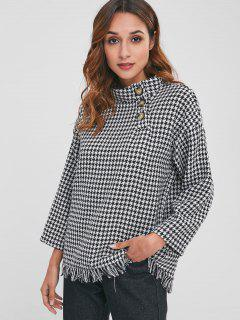 High Collar Houndstooth Tweed Sweatshirt - Multi L