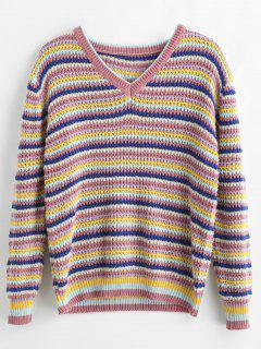 V Neck Striped Colored Sweater - Multi