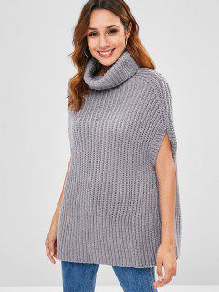 Cape Turtleneck Sweater - Gray