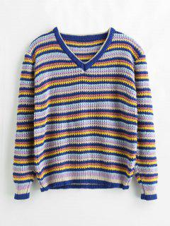 Loose Color Block Striped Sweater - Multi