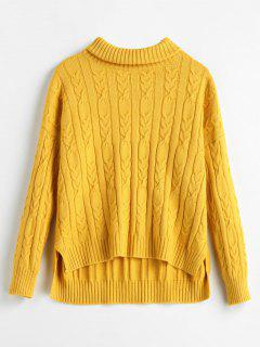 Rib Cable Knit Turtleneck Sweater - Yellow