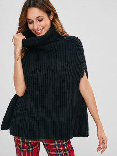 Cape Turtleneck Sweater - Black