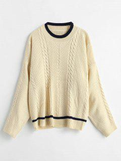 Cable Knit Contrast Trim Fisherman Sweater - Beige