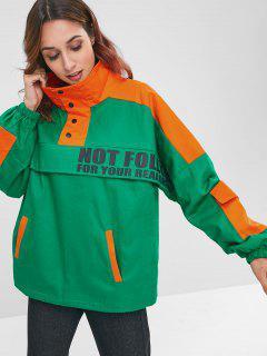 Color Block Letter Print Pocket Insert Jacket - Green