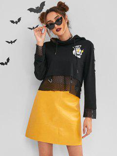 ZAFUL Halloween Costumes Cropped Hoodie - Black M