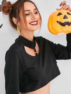ZAFUL Slashed Cropped Halloween Choker Sweatshirt - Black M
