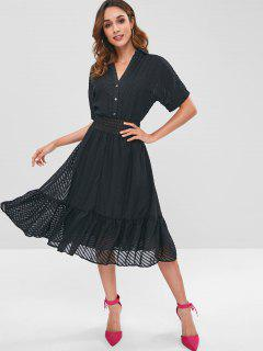 Cuffed Sleeves Ruffles Textured Dress - Black M