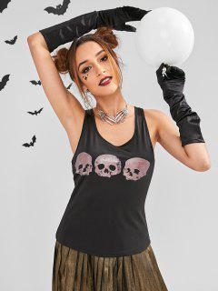 ZAFUL Halloween Racerback Skull Print Tank Top - Black M