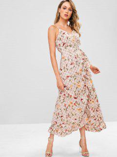 ZAFUL Plaid Flower Ruffle Wrap Dress - Light Pink S