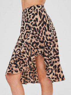 ZAFUL Leopard High Low Ruffle Skirt - Leopard Xl