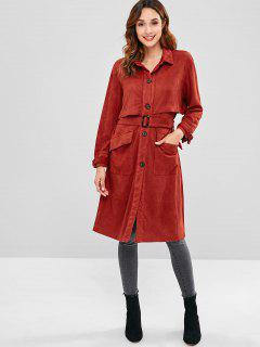 Button Front Faux Suede Trench Coat - Red Wine L