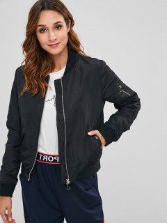 Zipper Pocket Bomber Jacket - Black M