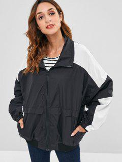 Front Pockets Color Block Zip Jacket - Black