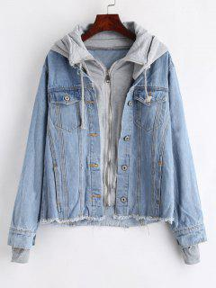 Hooded Frayed Jean Jacket - Denim Blue L