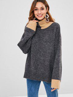 Oversized Turtleneck Sweater - Gray
