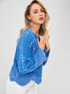 Suéter De Perlas Sintéticas Festoneado - Azul Océano