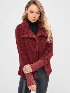 Snap Button Faux Shearling Short Coat - Red Wine L