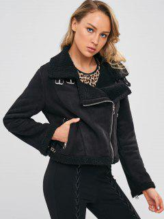 Zipped Faux Shearling Winter Biker Jacket - Black M
