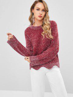 Silver Thread Scalloped Sweater - Maroon