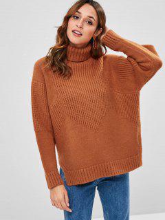 Loose Turtleneck Slit Sweater - Tiger Orange