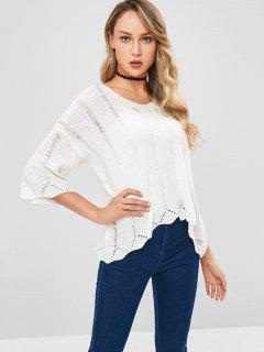 Lose Strick High Low Sweater - Weiß