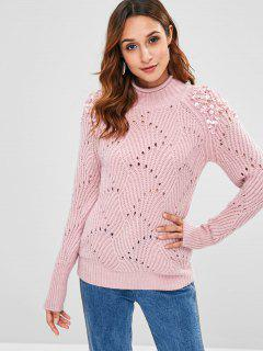 Mock Neck Beaded Sweater - Pink