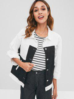 Two Tone Front Pockets Shirt Jacket - White