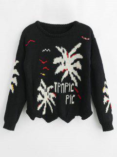 Drop Shoulder Letters Sweater - Black