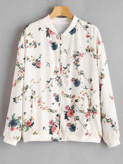 Flower Drop Shoulder Loose Jacket - Silk White L