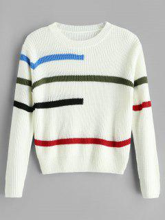 Colorful Stripe Chunky Sweater - White