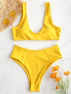 ZAFUL High Waisted Scoop Bikini Set - Golden Brown L