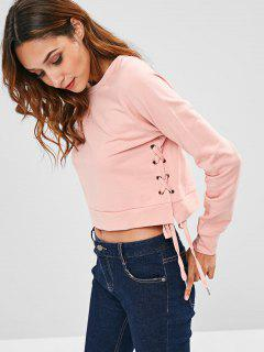 ZAFUL Round Neck Side Lace Up Sweatshirt - Pink S