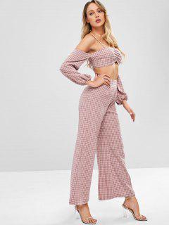 ZAFUL Plaid Top And Wide Leg Pants Set - Lipstick Pink L
