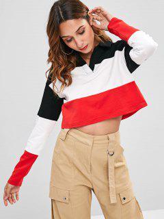 ZAFUL Cropped Color Block Sweatshirt - Multi L